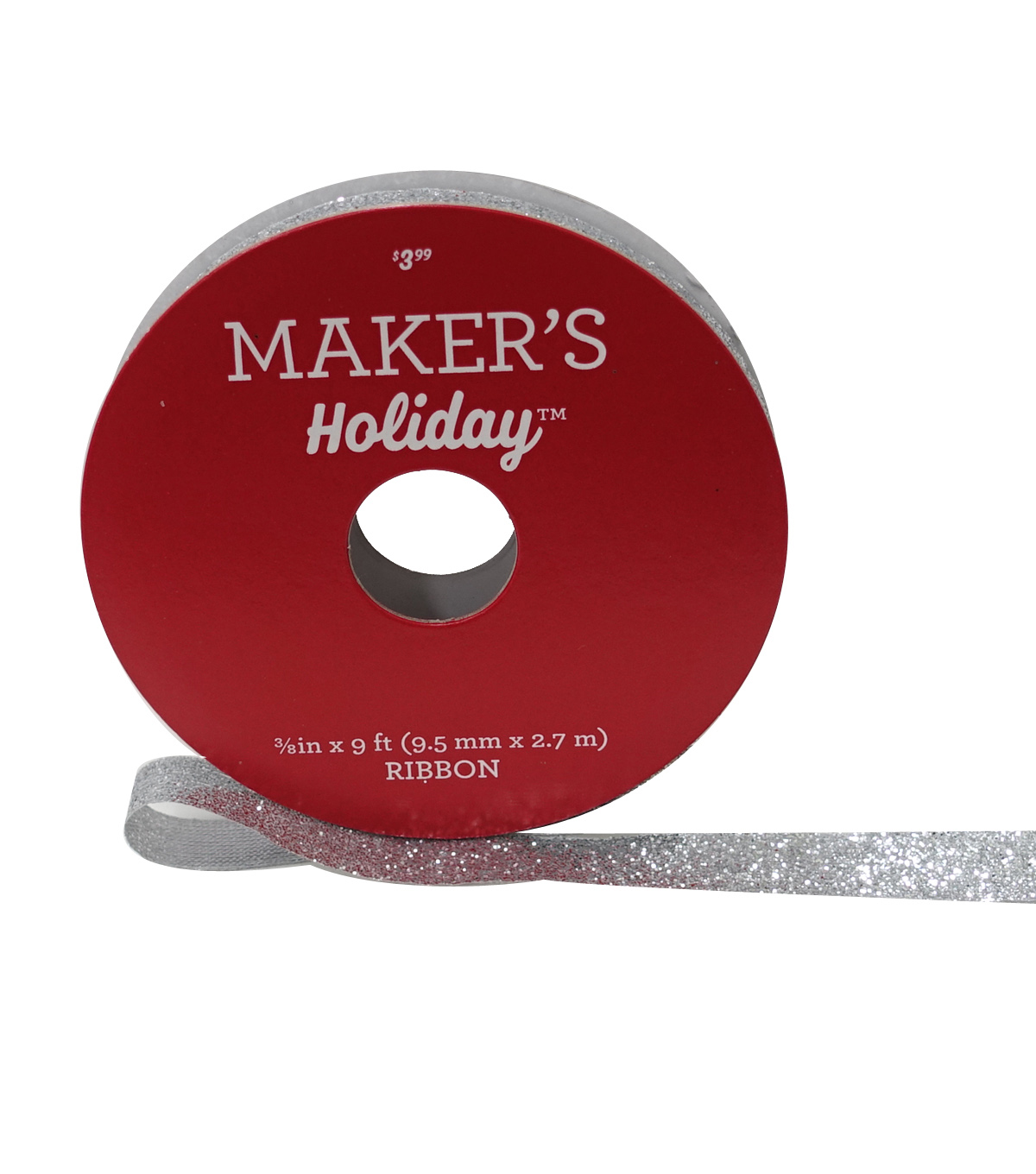 Maker\u0027s Holiday Christmas Glitter Ribbon 3/8\u0027\u0027x9\u0027-Silver