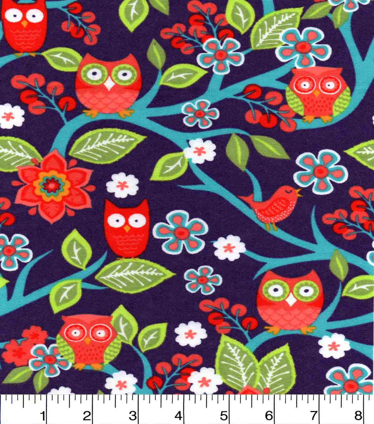 Snuggle Flannel Fabric 42\u0022-Sweet Owl On Branches