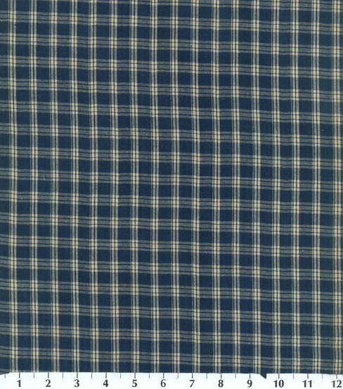 "Homespuns Cotton Fabric 44""-Navy Plaid"