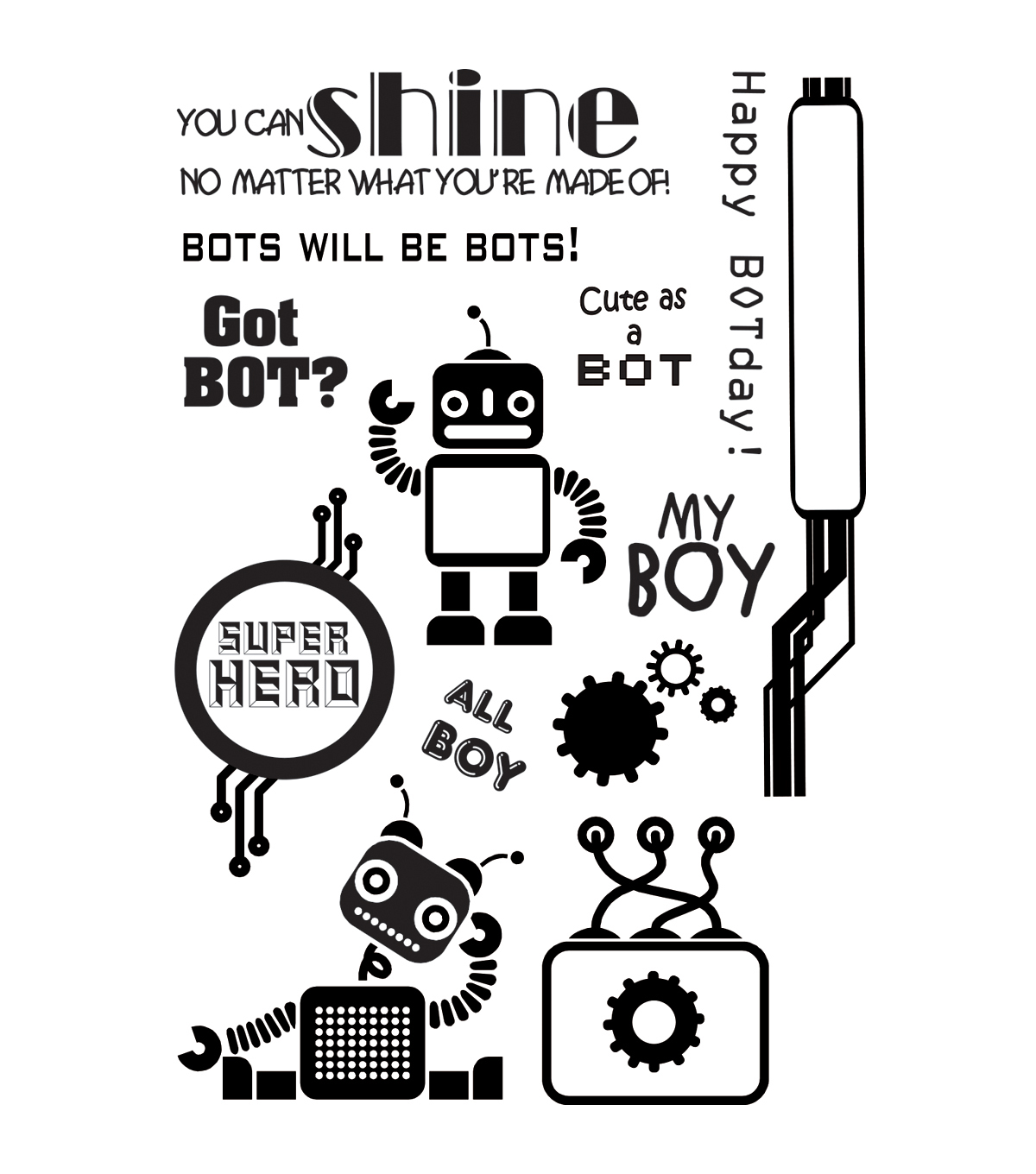 My Sentiments Exactly Clear Stamps 4\u0022X6\u0022 Sheet-Boy Bots
