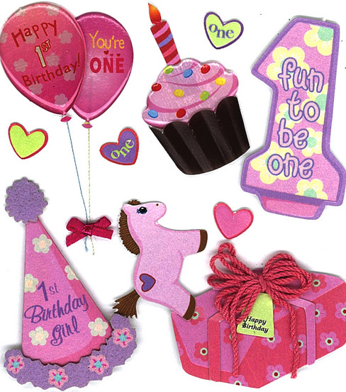 Jolee\u0027s Boutique Dimensional Embellishments-1st Birthday Girl