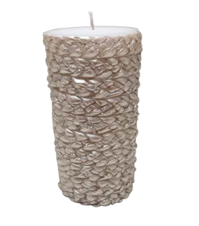 Maker's Holiday 3''x6'' Pillar Candle-Champagne Rope