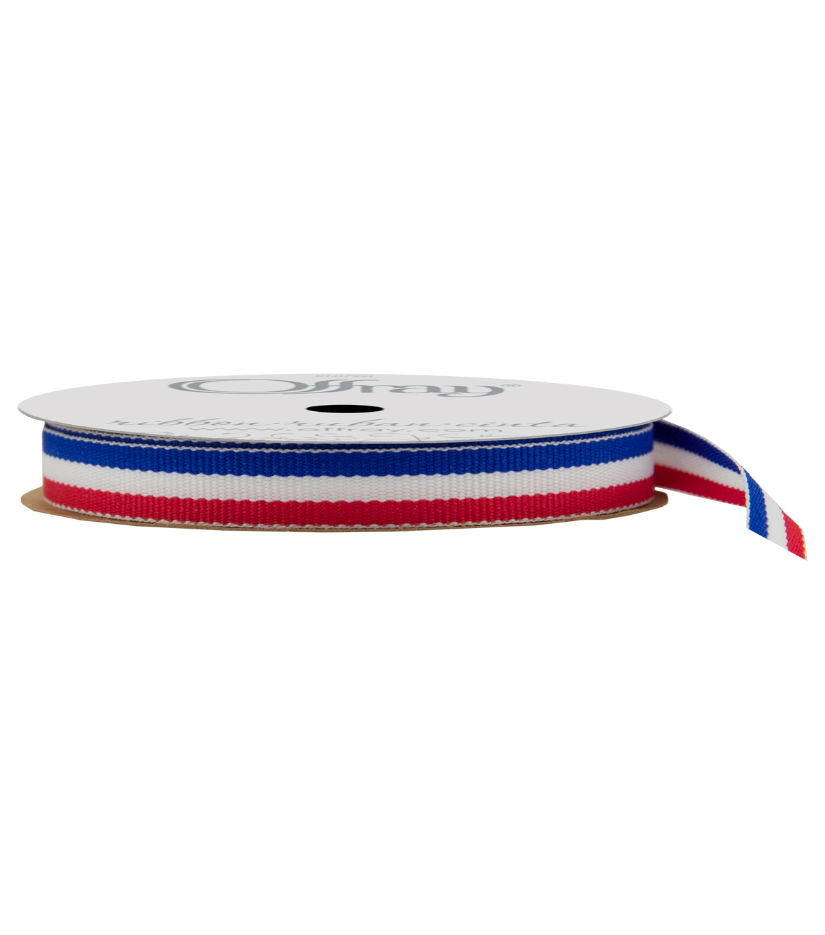 Offray 3/8\u0022x9\u0027 Tri Stripes Woven Patriotic Ribbon-Royal