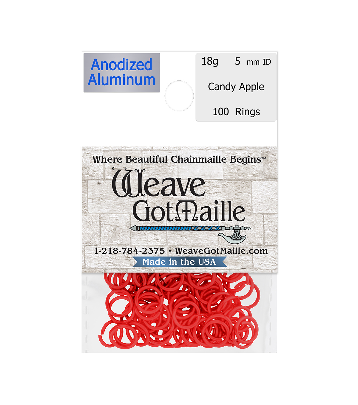 Weave Got Maille Pack of 100 5 mm Jump Rings-Candy Apple