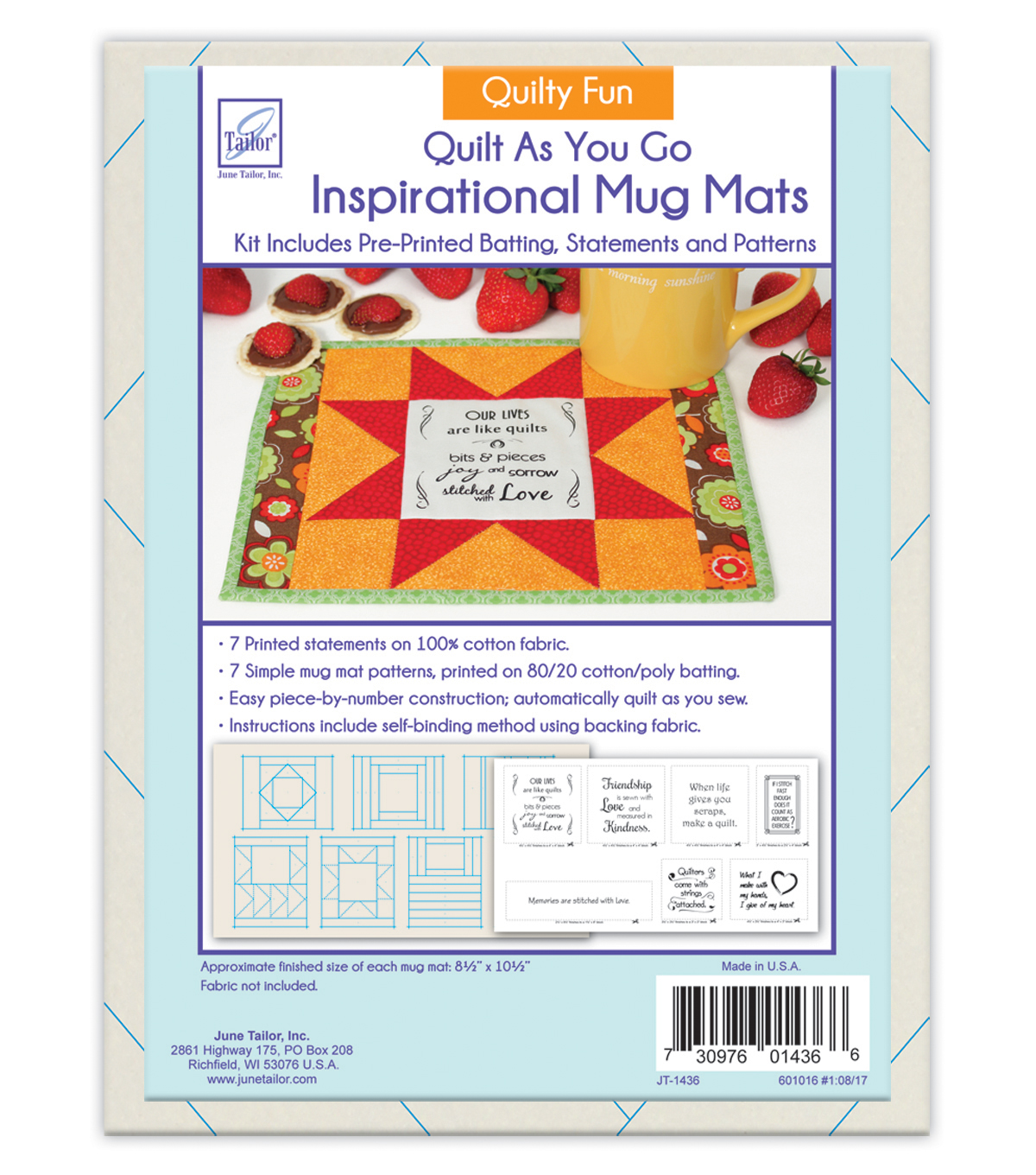June Tailor® Inspirational Mug Mats Quilty Fun Series