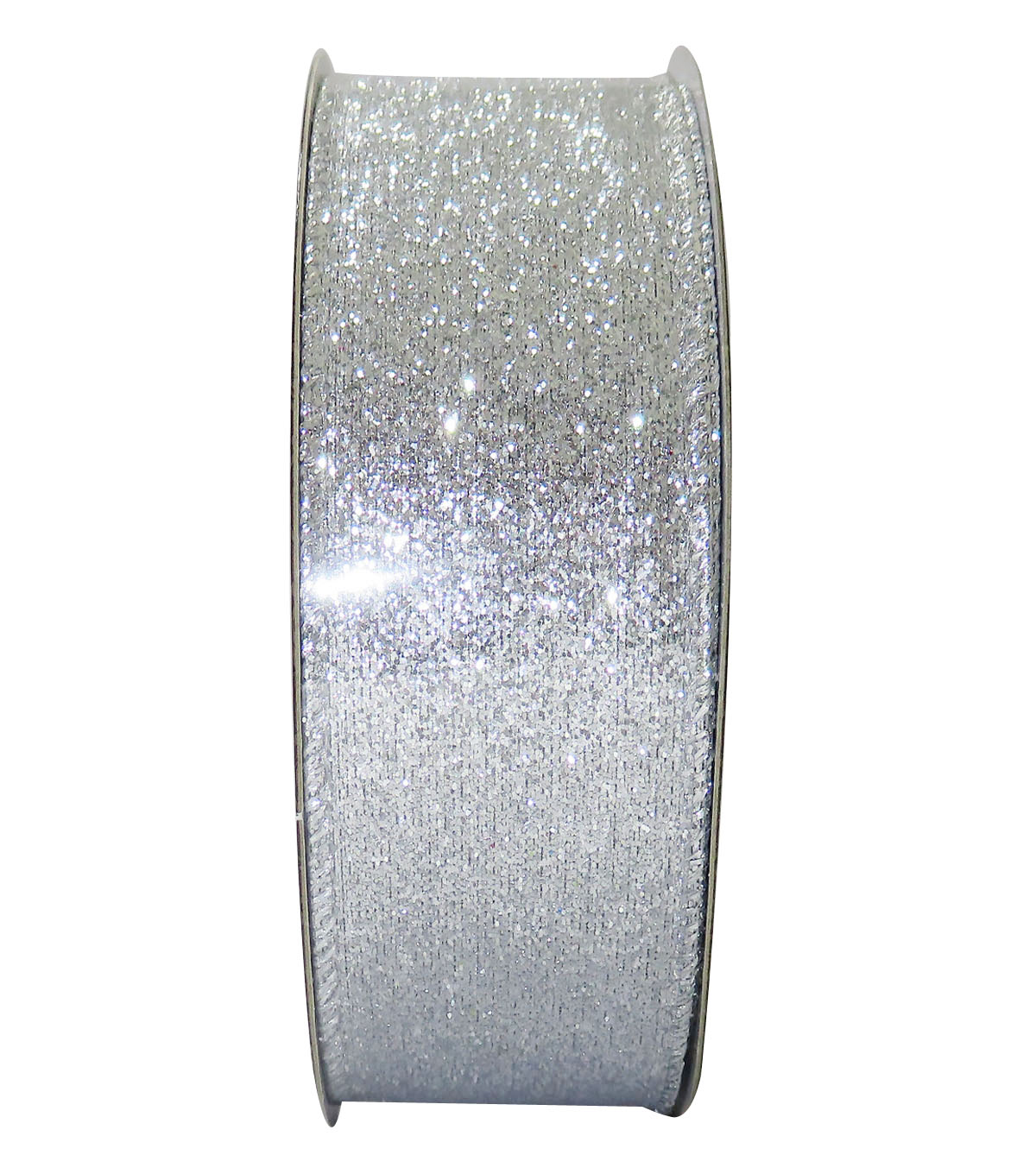 Decorative Ribbon 1.5\u0027\u0027 X 15\u0027-Silver Glitter Solid