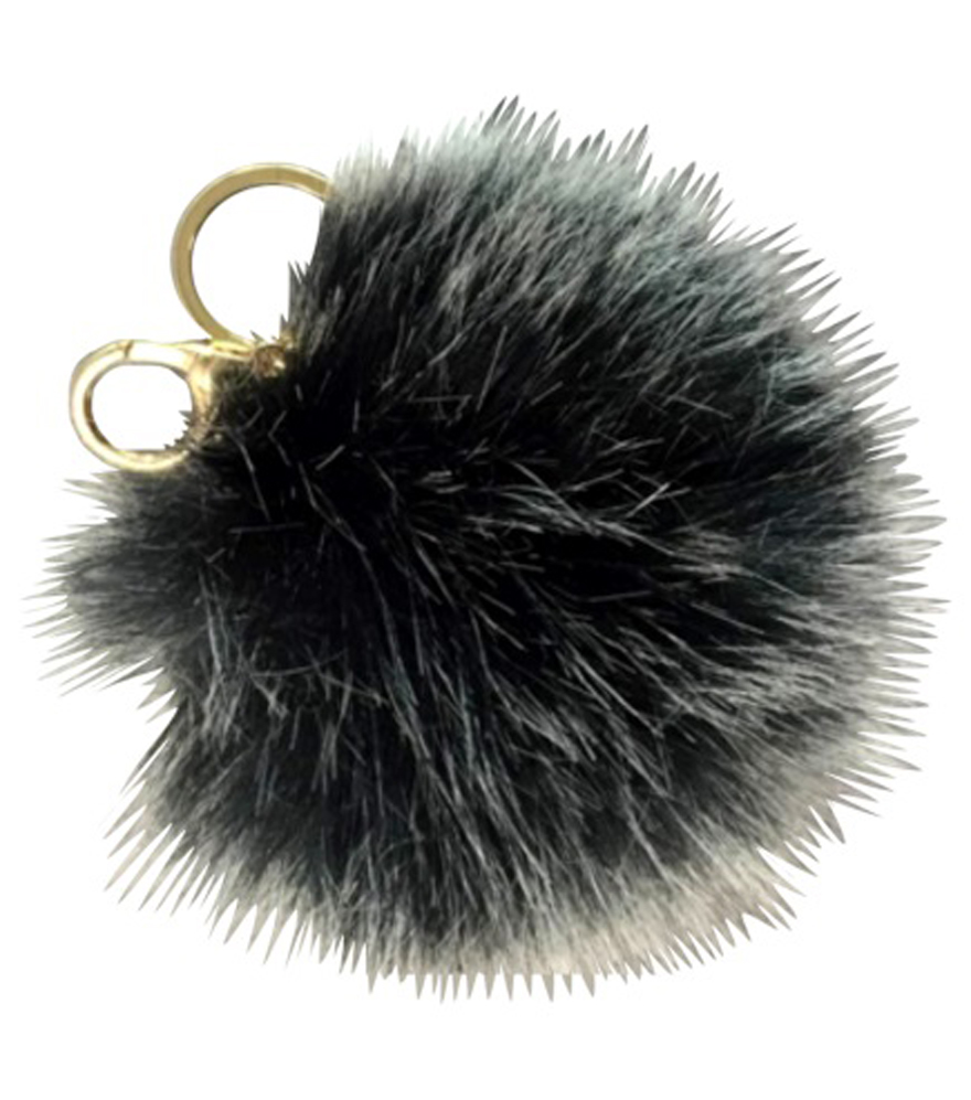 Purse Charm Pom Pom-Pearl Black White
