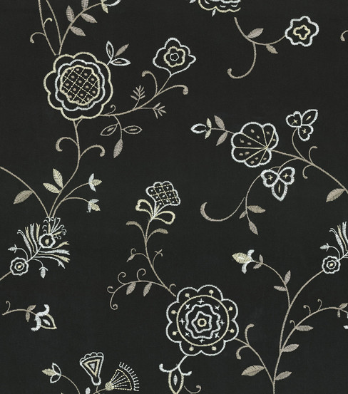 Waverly Upholstery Fabric 55\u0022-Belle Embroidery/Ebony