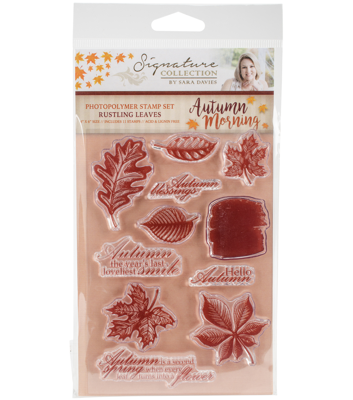 Sara Davies 11 pk Signature Autumn Morning Clear Stamps-Rustling Leaves