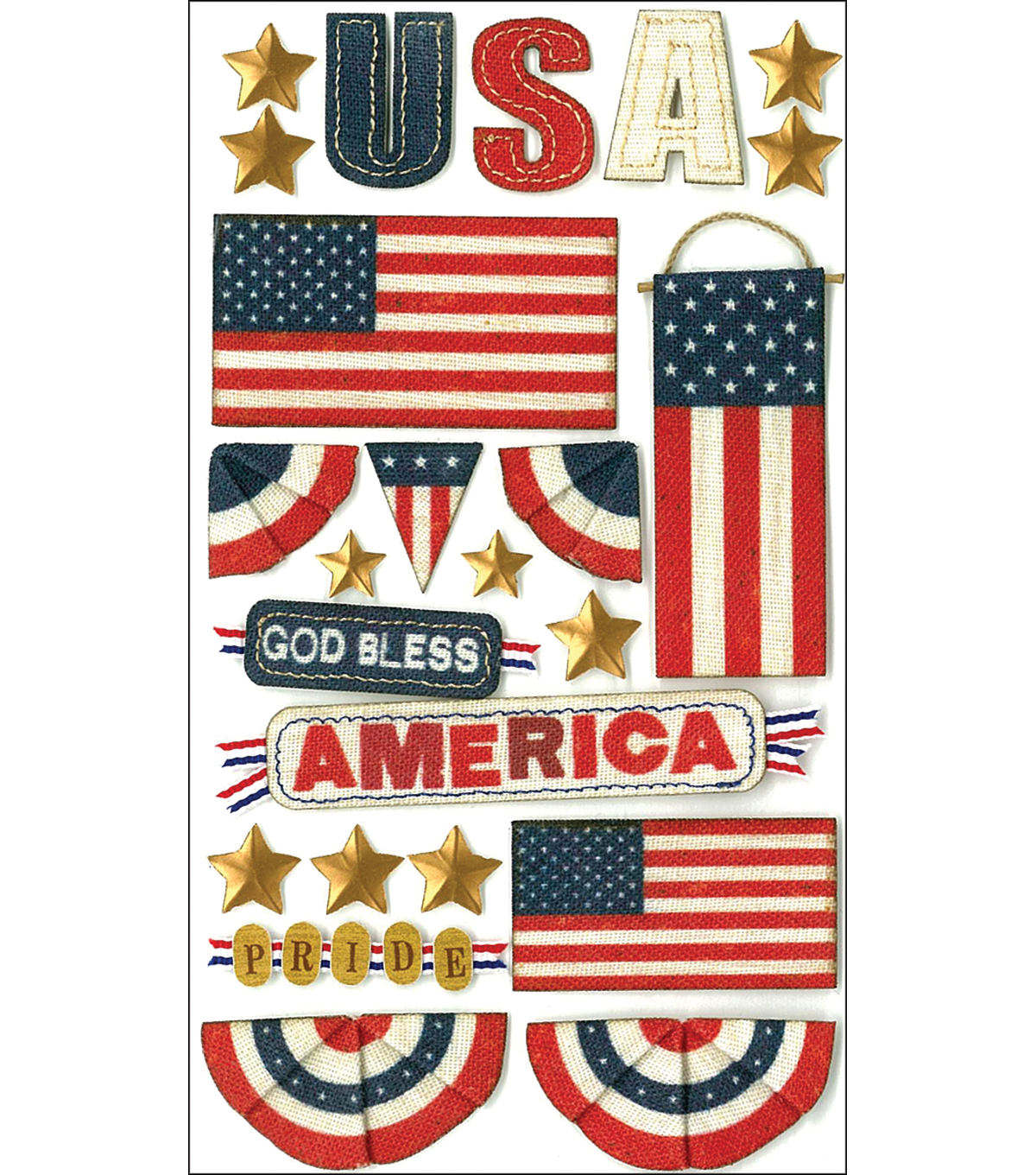 Jolee's Boutique Le Grande Dimensional Stickers-God Bless America