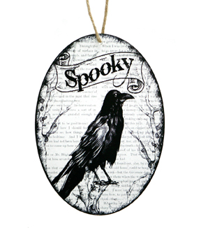 Maker's Halloween Round Wood Wall Decor-Spooky Crow