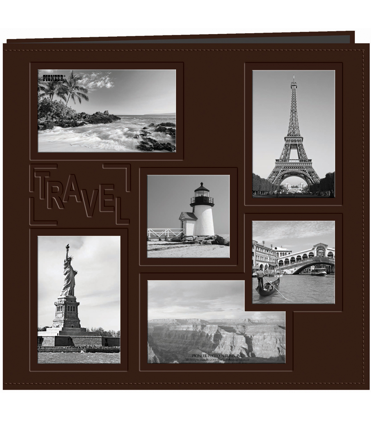 Pioneer Collage Frame Sewn Embossed Cover Postbound Album 12\u0022X12\u0022-Travel
