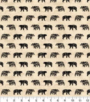 "Novelty Cotton Fabric 43""-Black Bear Silhouette"