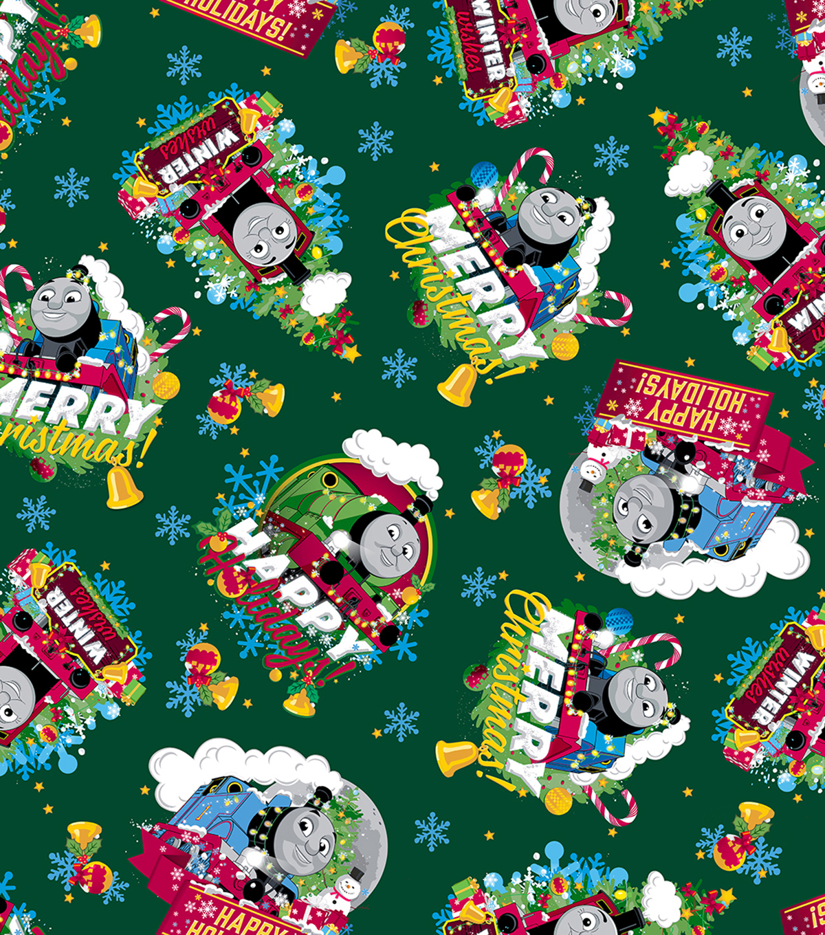 Christmas Cotton Fabric 43\u0022-Thomas the Train