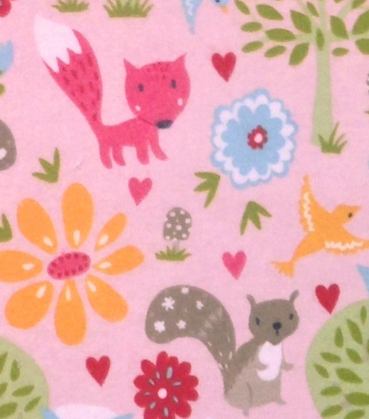Snuggle Flannel Fabric 43''-Woodland Friends Garden on Pink