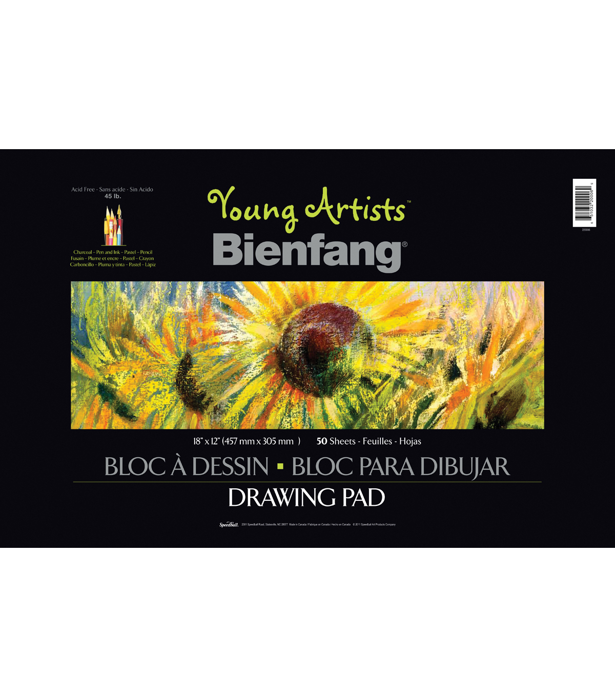 "Young Artist Bienfang Sketch Book 18""X12"" 50 Sheets-45lb Wire-Bound"