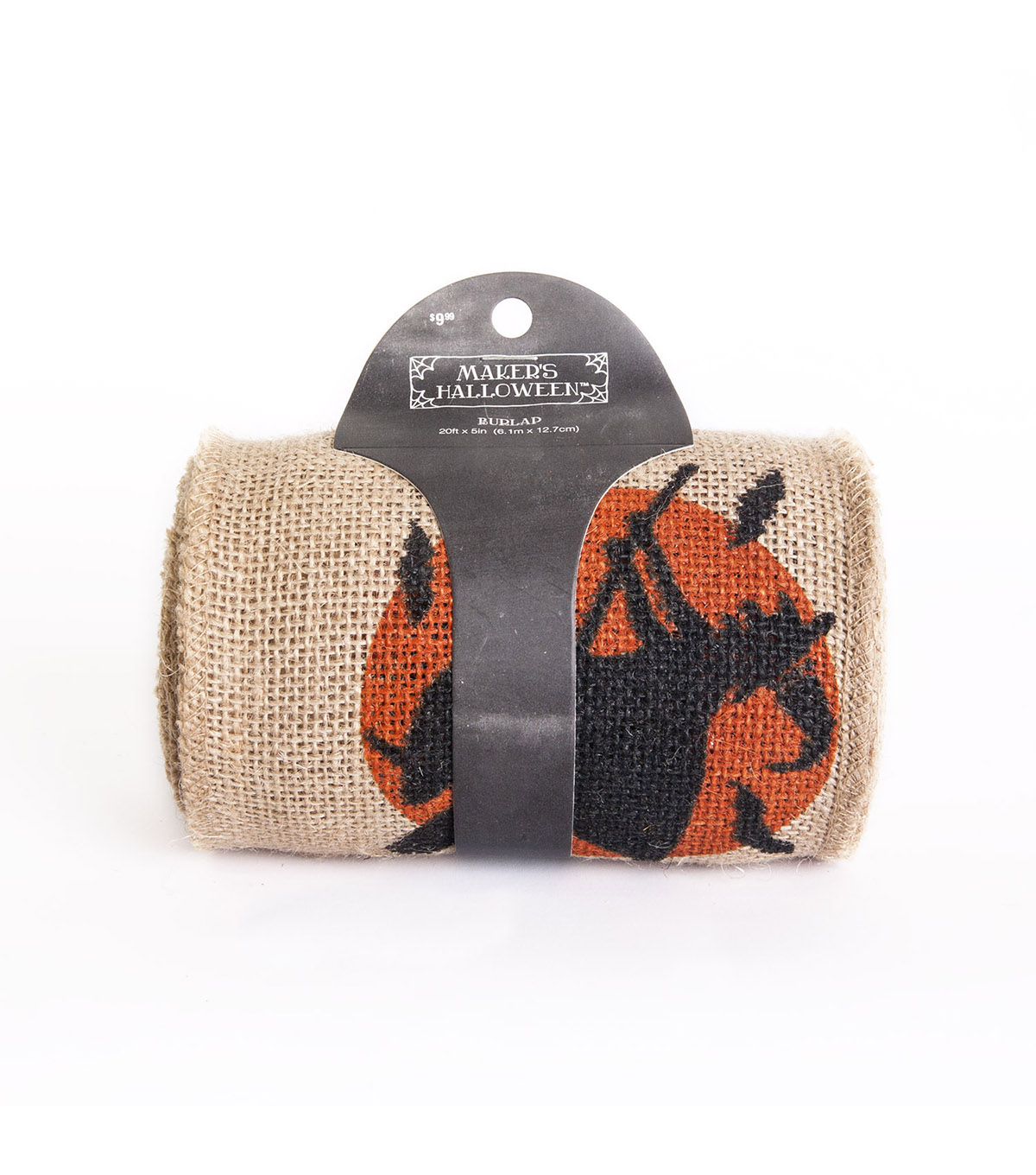 Maker's Halloween Burlap Ribbon 5''x20'-Witch & Bat Print on Natural