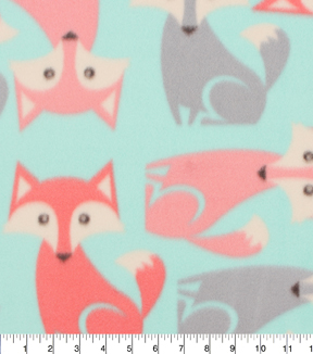 "Blizzard Fleece Fabric 59""-All Over Fox"