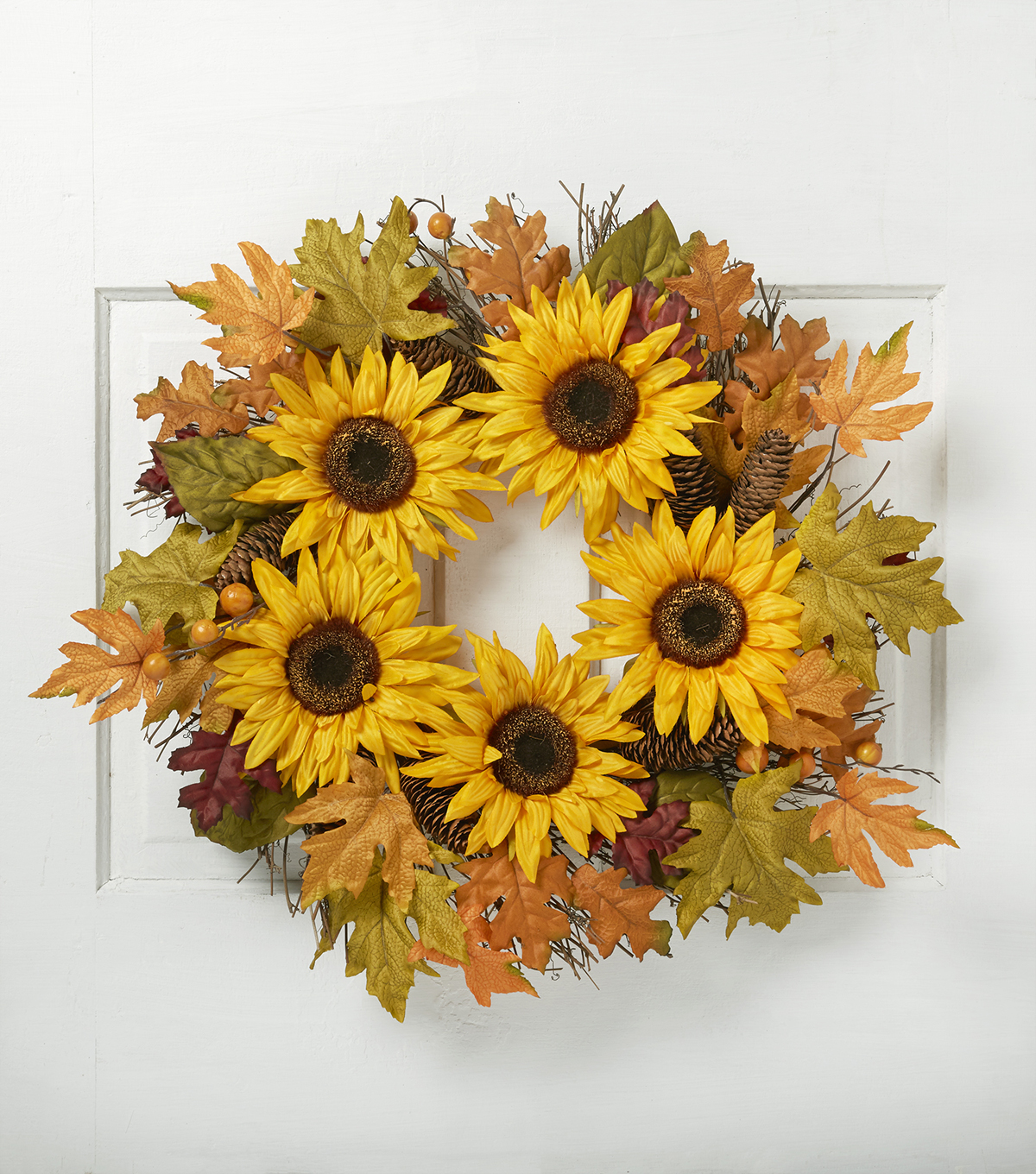 Blooming Autumn 22\u0027\u0027 Sunflower, Berry & Pinecone Twig Wreath-Yellow
