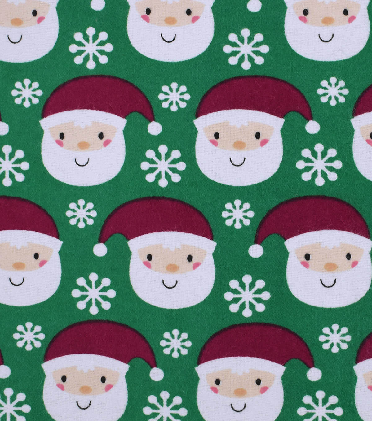 "Snuggle Flannel Fabric 42""-Santa With Snowflakes"