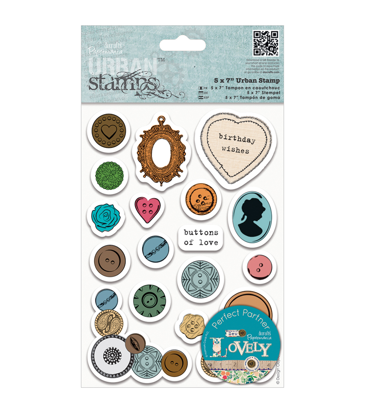 Papermania Sew Lovely Urban Stamps 5\u0022X7\u0022-Mixed Buttons