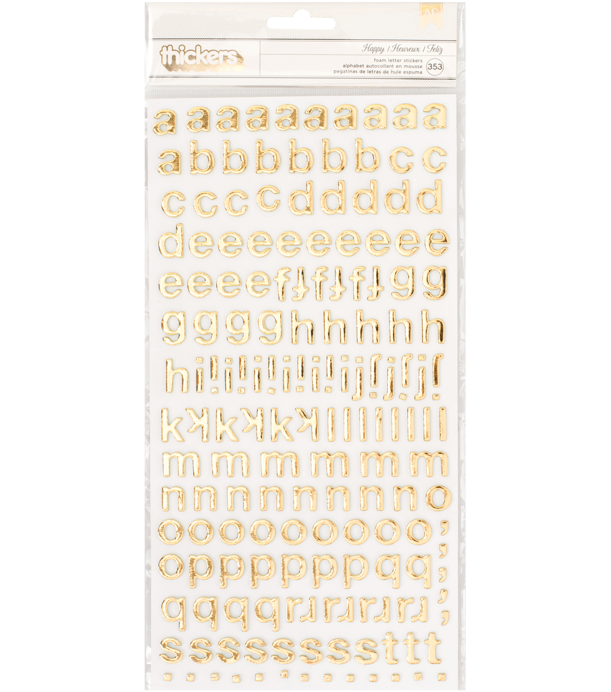 "Carousel Thickers Stickers 5.6""X12.5"" -Happy Alphabet/Gold"