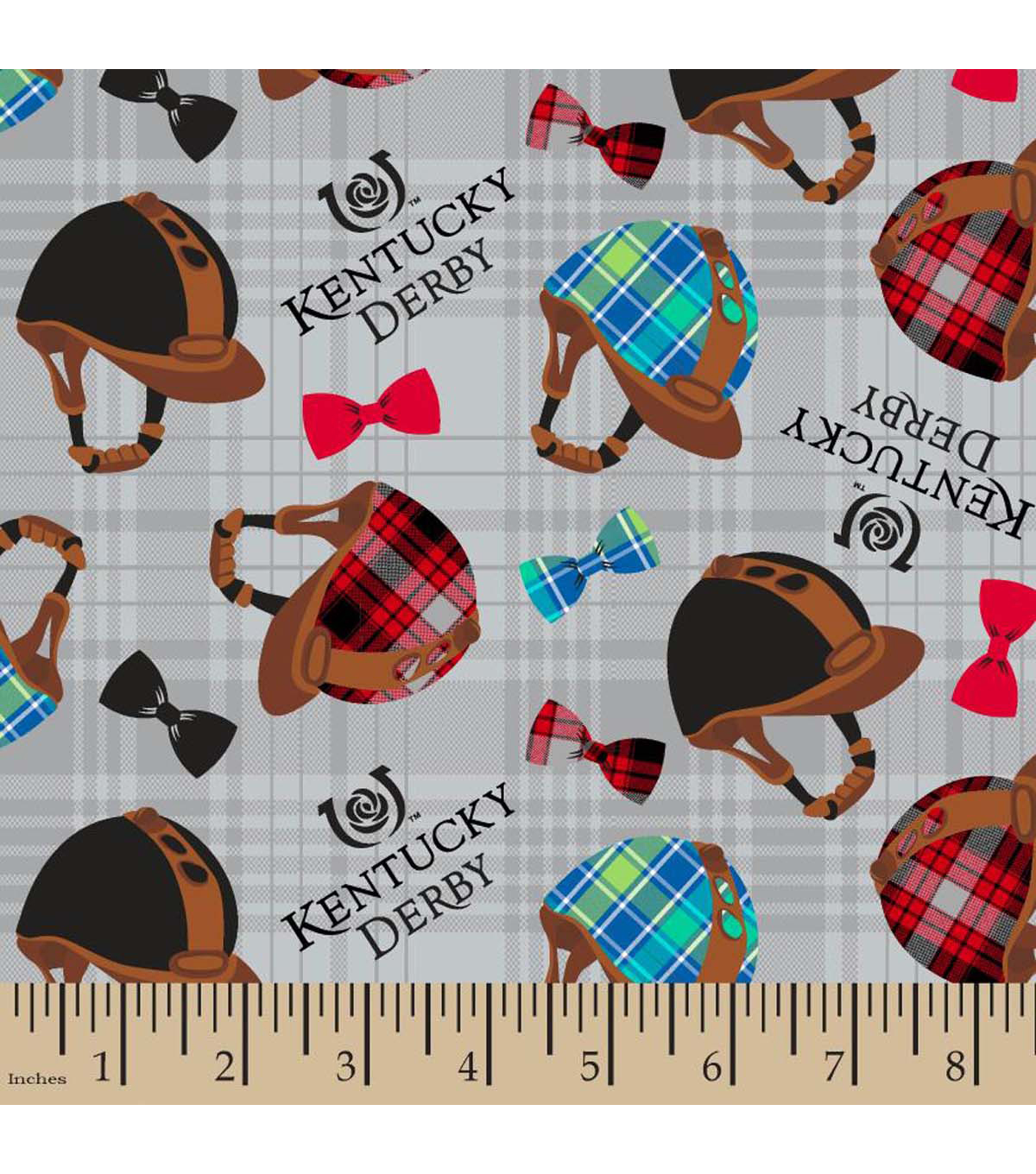 Kentucky Derby Helmets And Bows Cotton Fabric