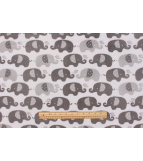 Nursery Fleece Fabric-Grey Elephant In Line