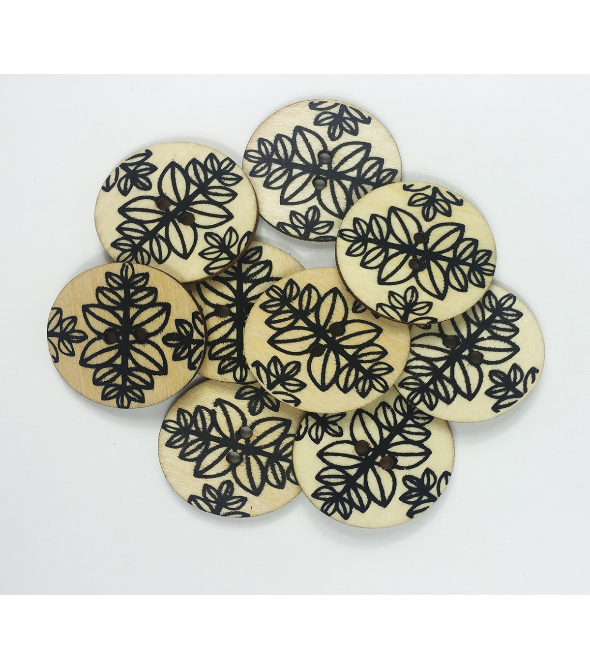 "Organic Elements Wood Buttons 1.25""-Black & White Leaf Pattern"