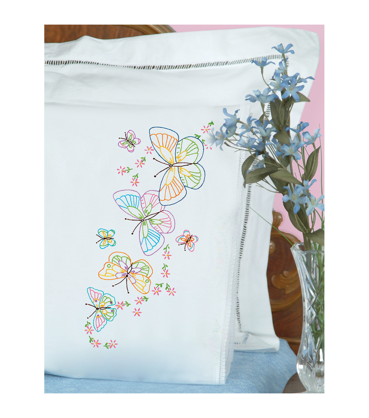 Jack Dempsey Stamped Pillowcases With Lace Edge Fluttering Butterflies