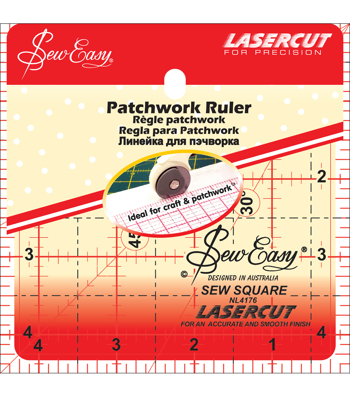 Tacony Corporation 4.5\u0027\u0027x4.5\u0027\u0027 SewEasy Square Quilt Ruler