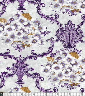 "Two Daughters™ Cotton Fabric 43""-Gray Floral Damask"