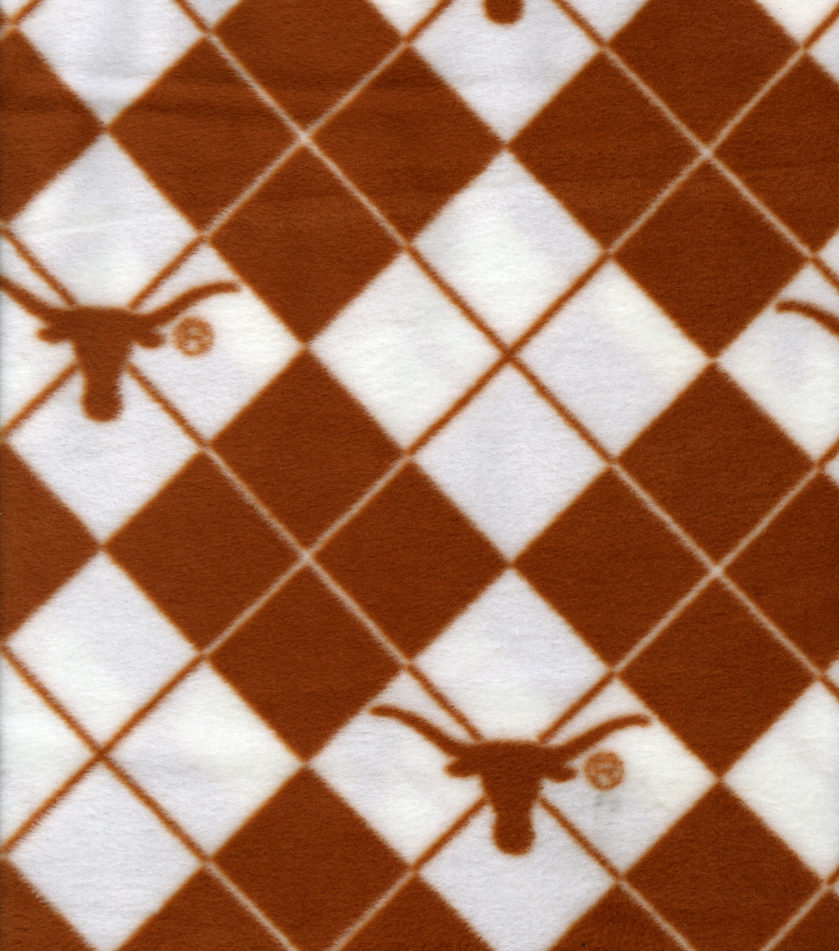 "University of Texas Longhorns Fleece Fabric 58""-Argyle"