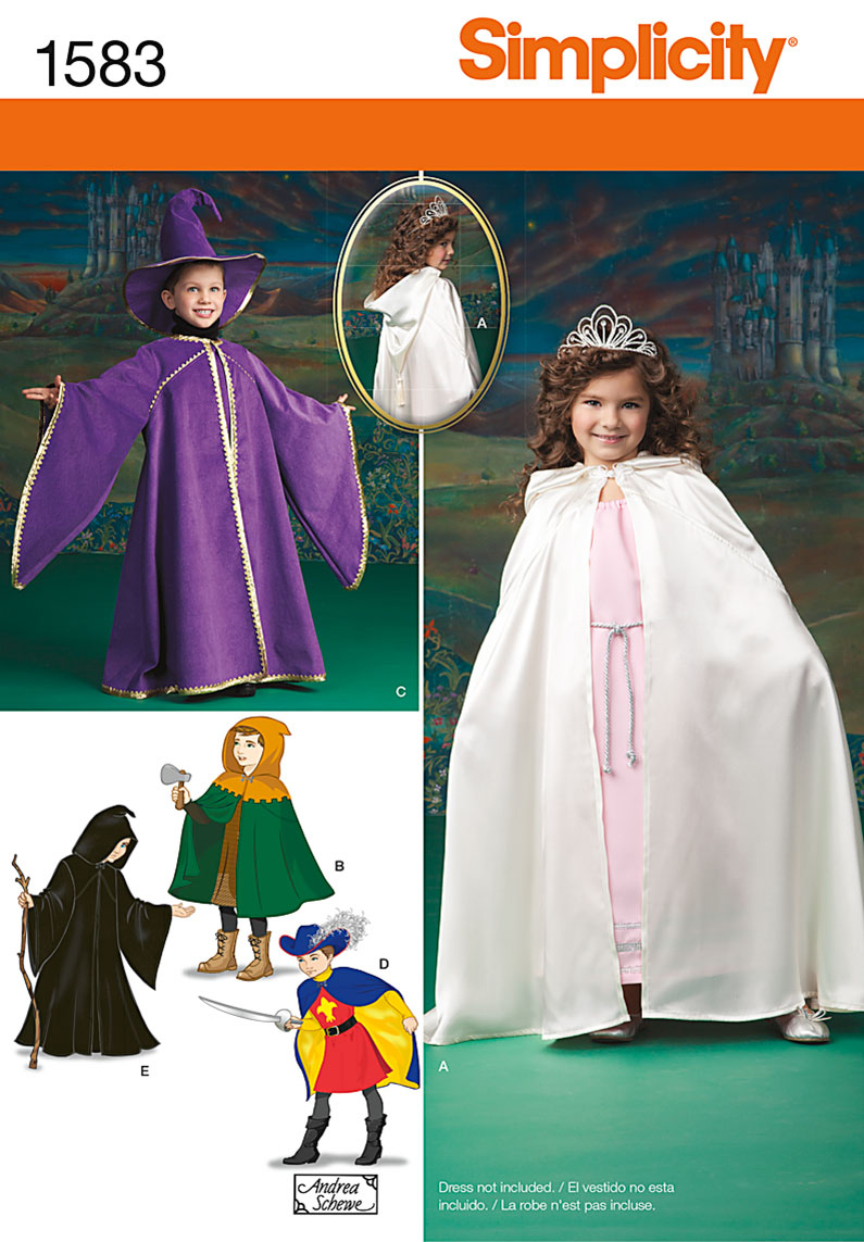 Simplicity Pattern 1583A 3-4-5-6-7--Crafts Costumes