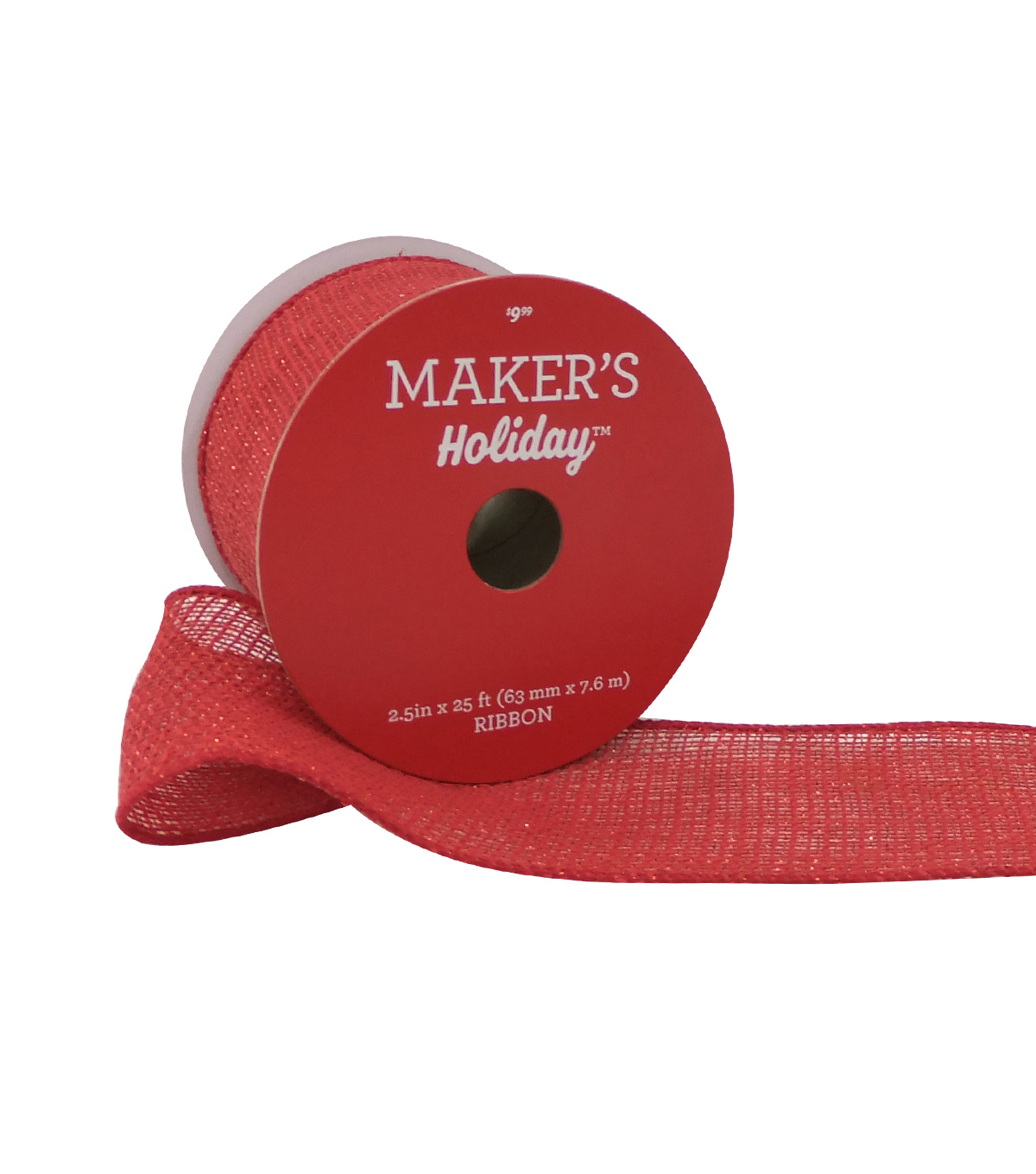 Maker\u0027s Holiday Christmas Burlap Ribbon 2.5\u0027\u0027x25\u0027-Metallic on Red