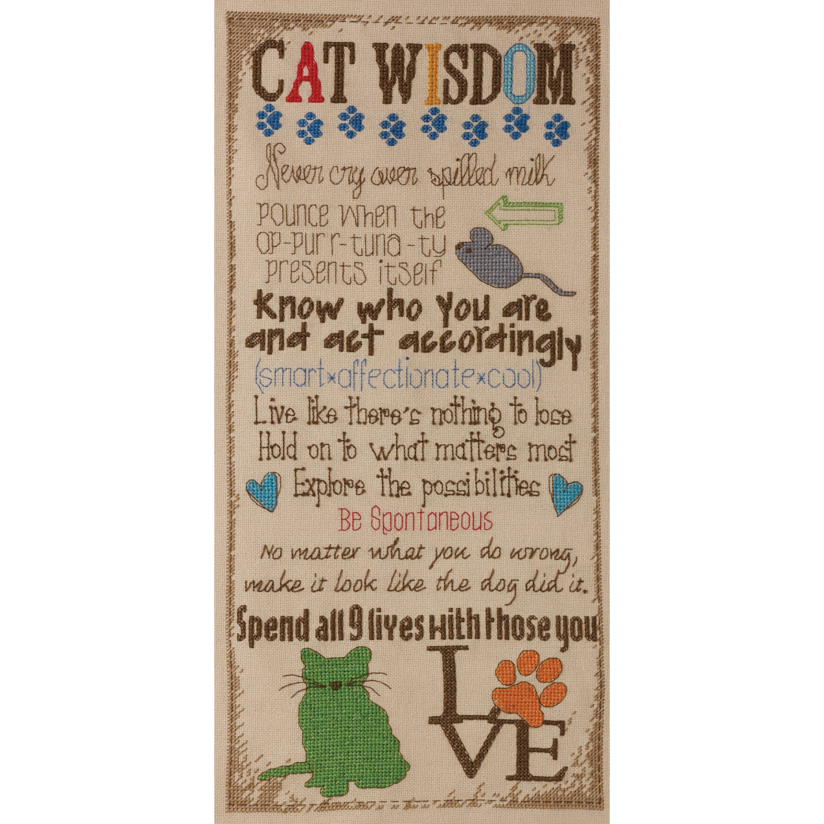 "Cat Wisdom Counted Cross Stitch Kit-7""X16"" 28 Count"