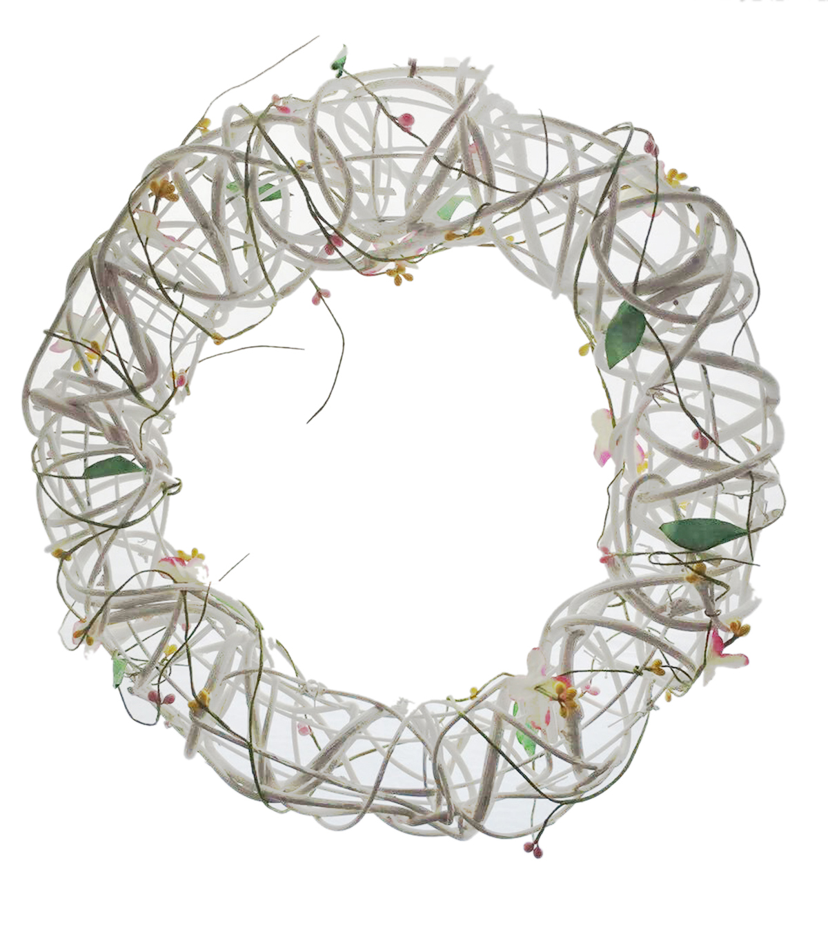 Blooming Spring 14.9'' Twig Wreath-White