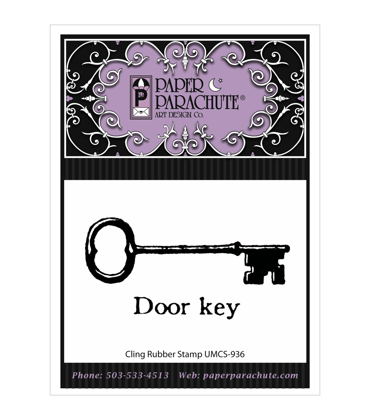 Paper Parachute Cling Rubber Stamps-Door Key