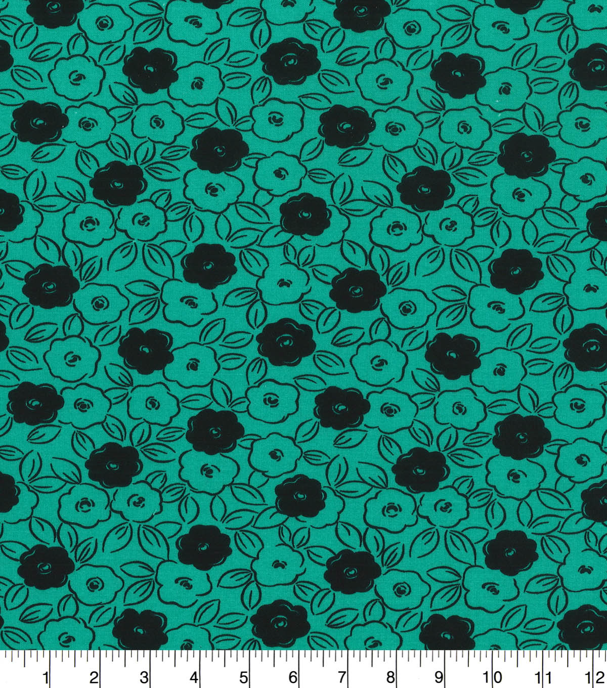 Quilter\u0027s Showcase™ Fabric 44\u0027\u0027-Pool Green & Black Floral