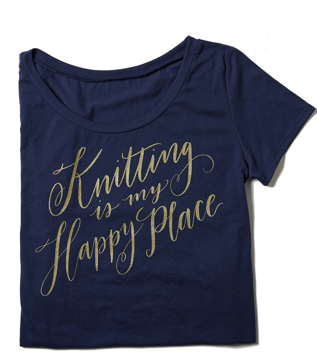 T-Shirt L/XL-Knitting is My Happy Place on Blue