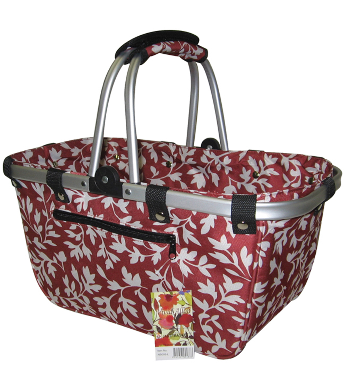 JanetBasket Red Floral Large Aluminum Frame Bag
