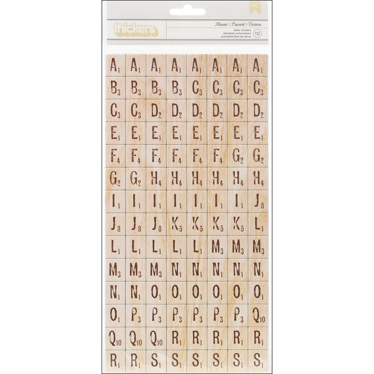 American Crafts™ Thickers Chipboard Alphabet Stickers-Natural Wood