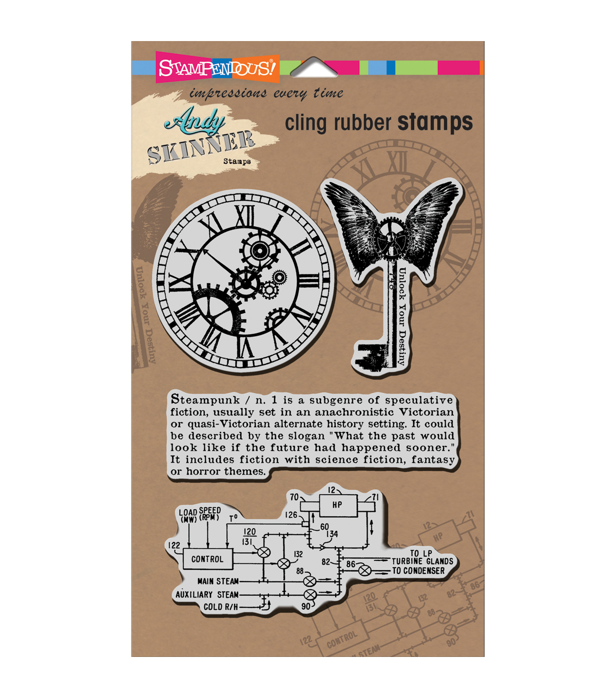 Stampendous Andy Skinner Cling Stamp 5\u0022x7\u0022 Sheet-Steampunk Set