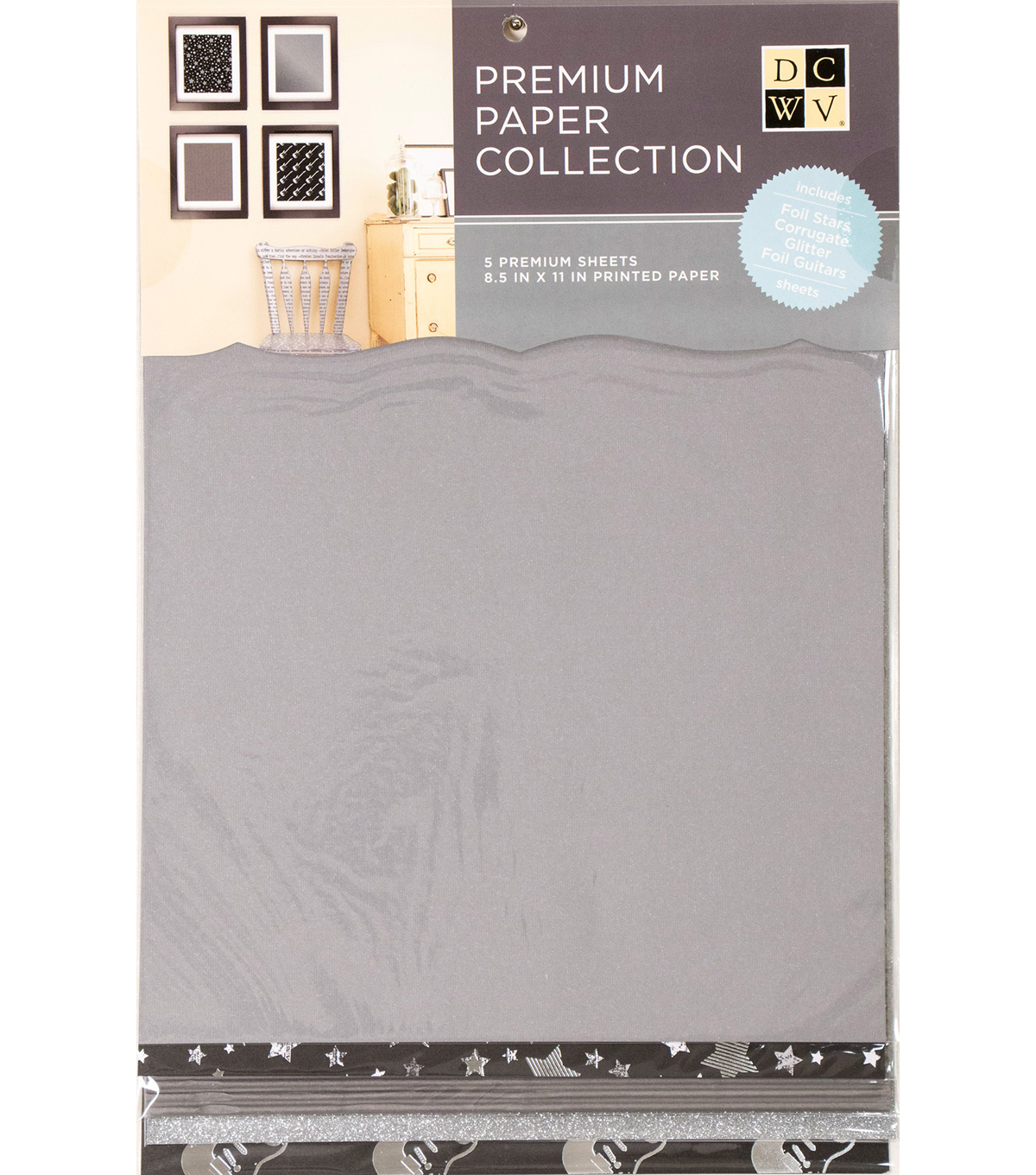 "DCWV 8.5""X11"" set of 5 Premium Papers-Electric Assortment"