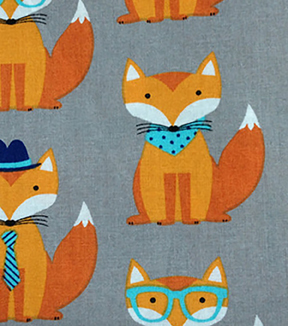 "Novelty Cotton Fabric 43""-Foxes On Gray"