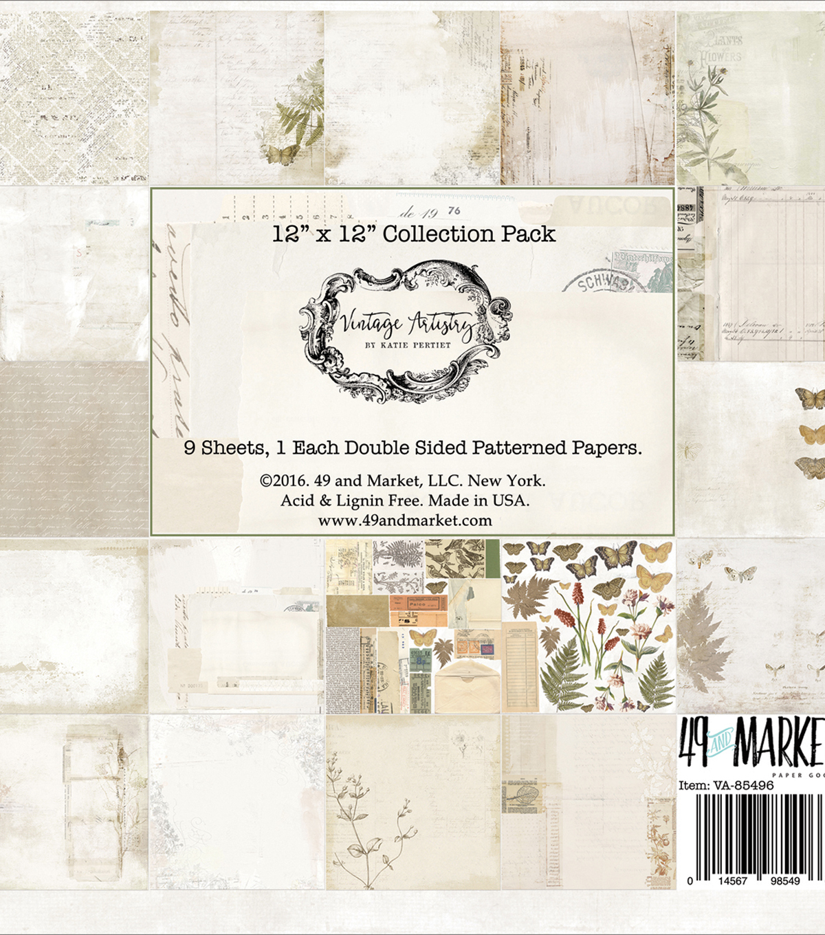 "49 And Market Vintage Artistry Collection Pack Cardstock 12""X12"" 9pk"
