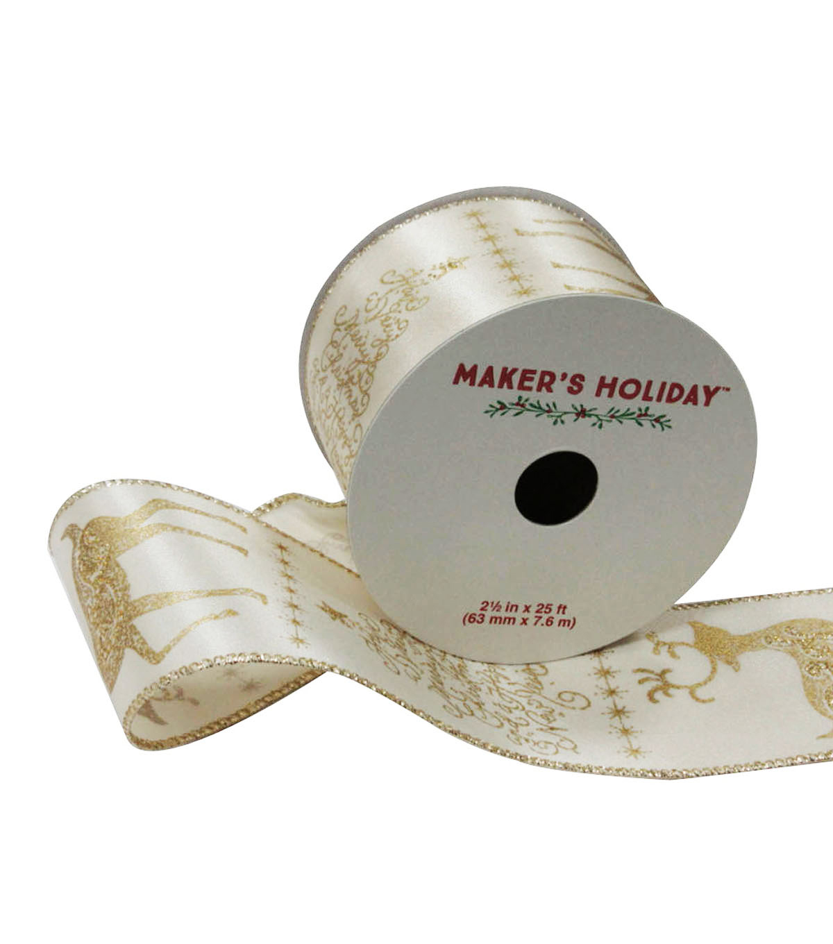 Maker's Holiday Satin Ribbon 2.5''x25'-Brown & Cream Deer