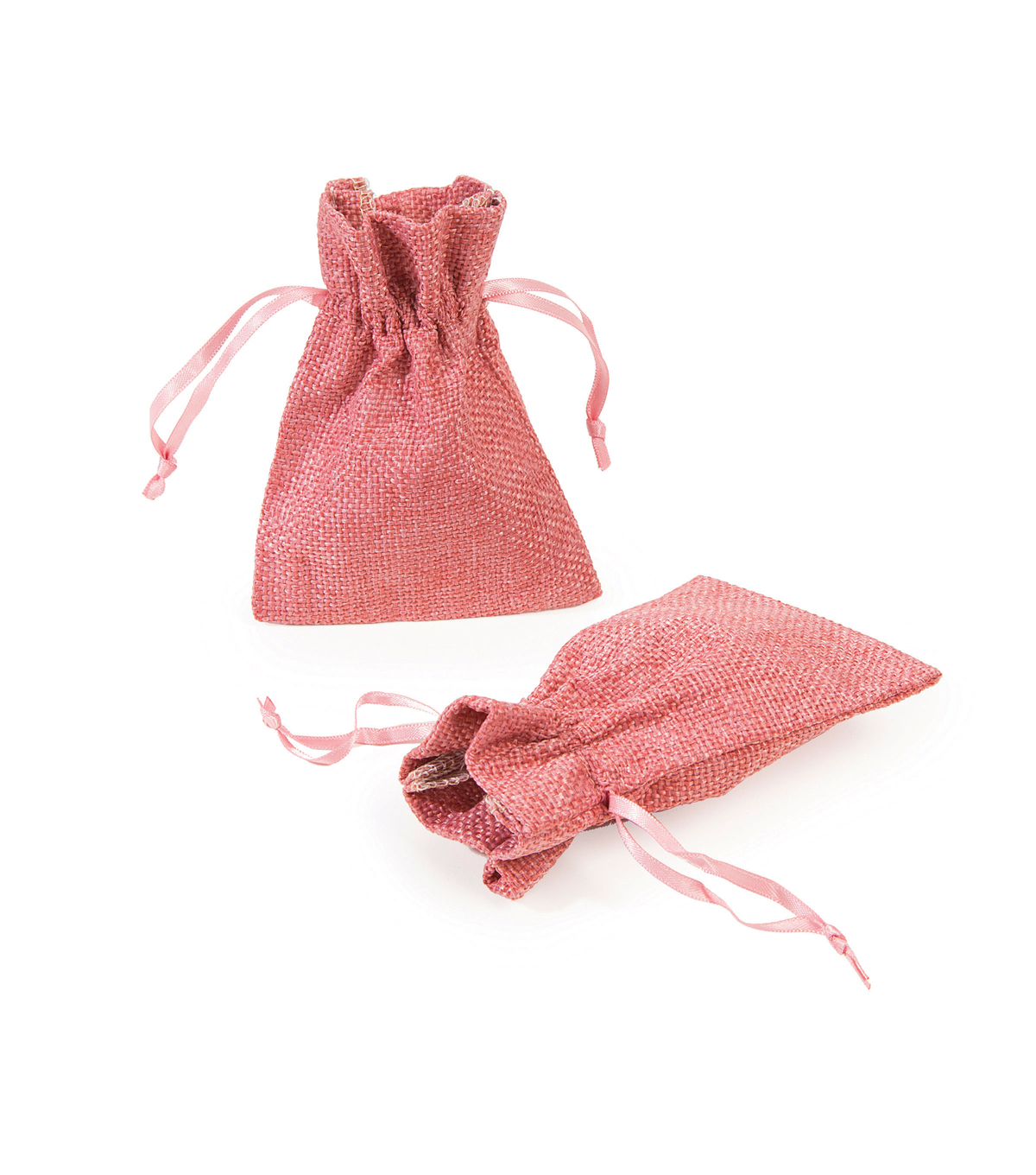 Burlap Drawstring Bags-Light Pink 2pk