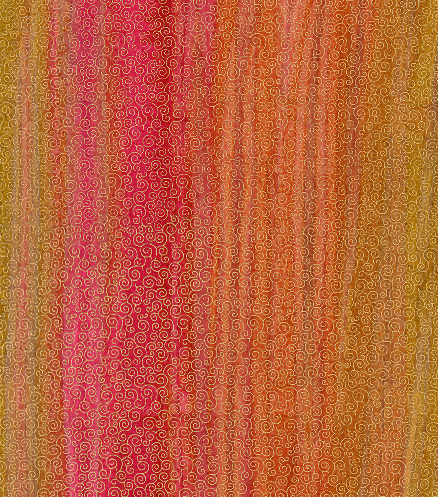 Legacy Studio™ Batik Fabric 44''-Metallic Scroll on Pink & Orange