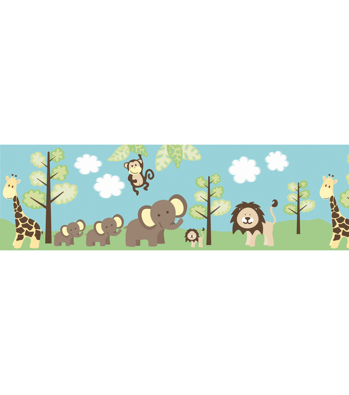Jungle Friends Border Multicolor Jungle Wallpaper Border